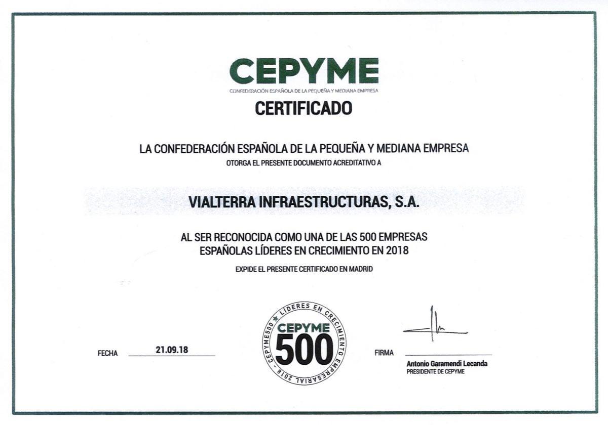 CEPYME reconoce el liderazgo en el crecimiento de Vialterra Infraestructuras