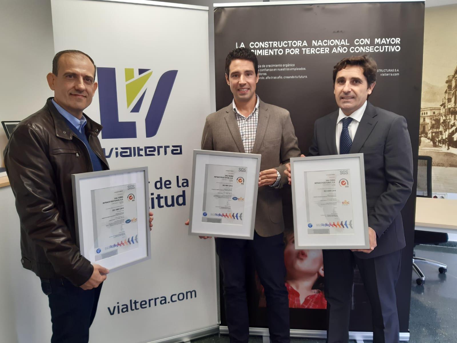 Vialterra renueva con SGS los certificados de sus sistemas integrados ISO 9001, 14001 y 45001